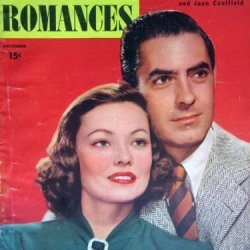 Screen Romances Magazine November 1946. Cover: Tyrone Power And Gene Tierney. Inside Photos: Clifton Webb And Gene Tierney, Joan Crawford And Clark Gable, Judy Garland And Frank Sinatra. Movie Ads: 'Cloak And Dagger' With Gary Cooper.