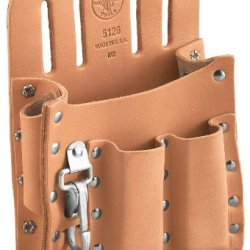 Klein Tools 5126 Leather 5-Pocket Tool Pouch With Knife Snap