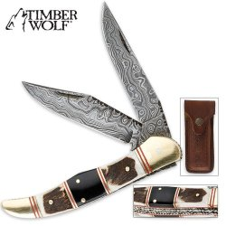 Timber Wolf Filework Hunter Folding Knife Damascus