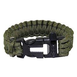 Sjinc Newest Hot Sale Survival Bracelet Flint Fire Starter Scraper Whistle Gear Kits (Ag)