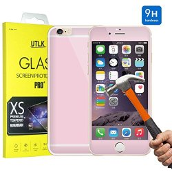 """Iphone 6 Colorful Screen Protector [Tempered Glass] Pink, Utlk Fully Body Tempered Glass Body Sticker 2.5D Round Edge 9H Hardness Full Body Colored Premium Tempered Glass Screen Protector For Iphone 6 4.7 Inch (I6 4.7"""" Pink)"""