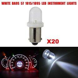Partsam 20Pcs Ba9S 1895 H6W 53 57 Bayonet Led Light Bulbs For Instrument Bulbs White 12V