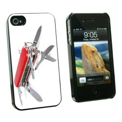Graphics And More Multi-Function Knife Screwdriver - Snap On Hard Protective Case For Apple Iphone 4 4S - Black - Carrying Case - Non-Retail Packaging - Black
