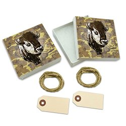 Buffalo Bison Head Bust White Gift Boxes Set Of 2
