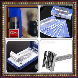 Sophisticated Gillette Patent Weishi Chrome Plated Double Edge Razor+100Blades+Shaving Brush
