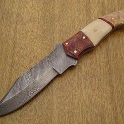 "Custom Handmade Damascus Steel Knife "" Bone ,Rose & Olive Wood Handle"