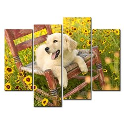 4 Panel Wall Art Painting Golden Retriever Puppy On The Chair Pictures Prints On Canvas Animal The Picture Decor Oil For Home Modern Decoration Print For Bathroom