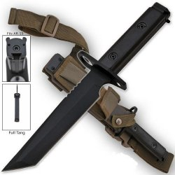 "Ar-15 / M16 Bayonet Heavy Duty Black Full Tang Tanto Blade 1/4"" Thick Knife With Sheath M9 / M1"