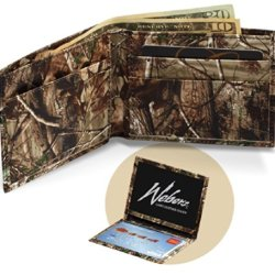 Realtree Leather Wallet, Mens All Purpose Camo Leather Billfold + Id Case