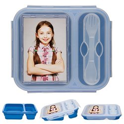 Eco Silicone Collapsible Lunch Box - Personalize Your Own (Blue)