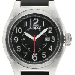 Zippo Casual And Simple Watch With Black Dial And Black Leather Strap