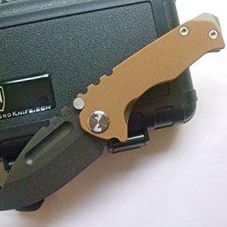 Medford Knife And Tool Micro Praetorian G Tactical Folder Knife Coyote G-10/Flame Titanium
