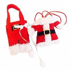 Jl 6Pcs Santa Claus Suit Christmas Silverware Holder Pockets