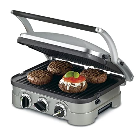 Compact in size but big in features, Cuisinart's countertop Griddler offers five-in-one functionality as a contact grill, panini press, full grill, full griddle and half grill/half griddle. The stylish brushed stainless-steel housing looks sleek a...
