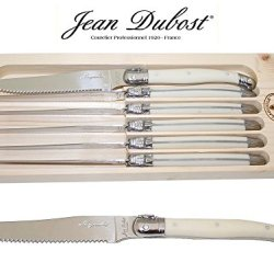 """French Laguiole Dubost - 6 Round Tip Table Dinner Knives - White Ivory - 9""""/23Cm - Also Used As Butter Knife/Spreader (Serrated Wavy Edge - Original Genuine Laguiole - Quality Family Color Flatware/Cutlery Setting For 6 People - With Certificate Of Authen"""