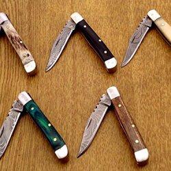 Custom Hand Made Damascus Steel Folding Knife Handle Both Side Silver Bolster Mini Trapper Pocket Knife