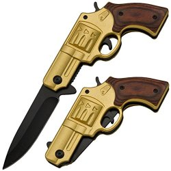 Tiger Usa Revolver Folder Gun Knife Gold Pakkawood Handle