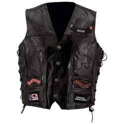 Exclusive Vests Incomparable Motorcycle Leather Vest With 14 Patches-S Standout