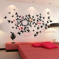 Good House® Hot !!! 3D 12Cm. Butterfly Wall Sticker Diy Decoration Home Art Decal Color Black 12 Pcs.A1
