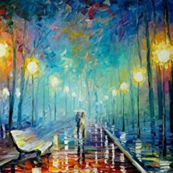 Leisure Lover In Night Art Wall Decorative Canvas Knife Paintng On Canvas 40X24In/100X60Cm Unframed