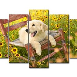 5 Piece Wall Art Painting Golden Retriever Puppy On The Chair Pictures Prints On Canvas Animal The Picture Decor Oil For Home Modern Decoration Print For Bathroom