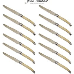 """French Laguiole Dubost - Horn - 12 Round Tip Table Dinner Knives - 9""""/23Cm - Also Used As Butter Knife/Spreader (Serrated Wavy Edge - Original Genuine Laguiole - Quality Family White Color Flatware/Cutlery Setting For 12 People - With Certificate Of Authe"""