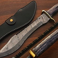 Crocodile Dundee Damascus Steel Custom Made Bowie Knife W/ Leather Sheather