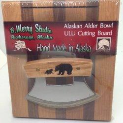 Made In Alaska Ulu Birch / Walnut Stripe Chopping Bowl Set Ulu Knife Bear Bears
