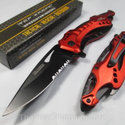 Tac Force Red Unique Design Assisted Opening Folding Knife 4.5-Inch Closed