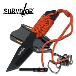 "Hk-762Or Survivor Fixed Blade Knife Jjqdfc 7"" Pvue1Qf Overall Orange Ayeuiu56 Hlbv23Rt Fixed Blade Knife7"" Kzmaabv3K Overall3"" Black Stainless Steel Tanto Blade4Mm Thickness Full Tang Blade3.5"" Jbatdh2I6 Orange Cord Wrap Handleincludes Plastic Sheath With"