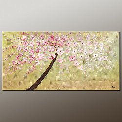 Fine Art Palette Knife Unframed Wall Art Deco Home Decoration With Landscape Tree 12X24 In/30X60Cm