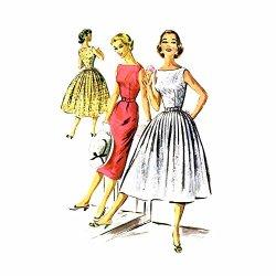 1950S Slim Or Full Skirt Dress Mccalls 3652 Vintage Sewing Pattern Size 16 Bust 36