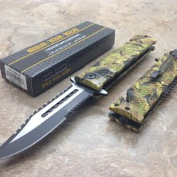 Tac Force Assisted Opening Rescue Tactical Pocket Folding Sawbaw Bowie Knife Outdoor Survival Camping Hunting W/ Glass Breaker - Jungle Camo