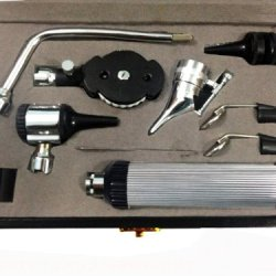 Zzzrt Stainless Steel Complete 3.25V Bayonet Locking Otoscope / Ophthalmoscope Instrument Set, E.N.T Diagnostic Kit + Free Protective Case (User Guide Available)