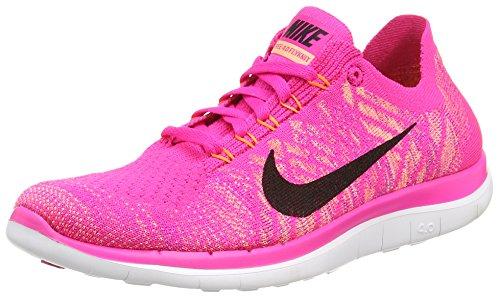 Nike Free 4.0 Flyknit, Damen Laufschuhe, Pink (Pink Foil/Black/Sunset Glow), 39 EU