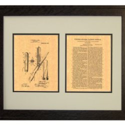 "Hunting-Knife Patent Art Print In A Rustic Oak Wood Frame (16"" X 20"")"