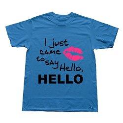 Goldfish Men'S Art Slim Fit Just Came Say Hello T-Shirt Royalblue Us Size Xxl
