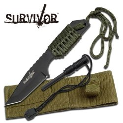 Survivor Hk-106320 Outdoor Fixed Blade Knife 7 Overall With Fire Starter 2 Pack (2 Pack)