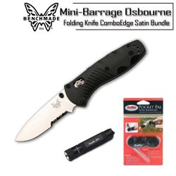 Benchmade Mini Barrage Knife 585S Spring Assist Axis Lock With Pp1 Pocket Pal Sharpener And Fenix E01 Led Flashlight Bundle