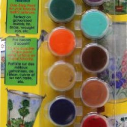 Plaid Delta 027060056 Metal Ceramcoat Paint Pots Set With Brush, 16 Colors