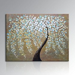 Framed Hand Painted Modern Abstract Knife Landscape Tree Oil Painting On Canvas (Stretched On Wooden Frames)