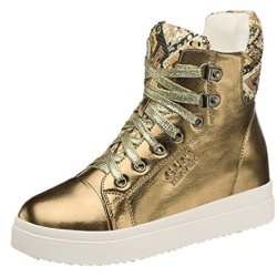 Guciheaven Women Winter New Style Bright Color Casual High Shoes(6 B(M)Us, Gold)
