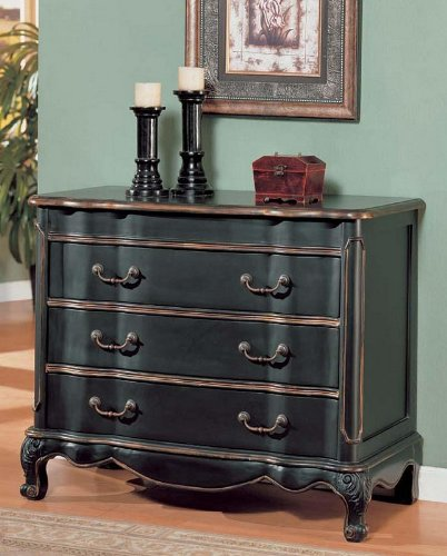 Image of Console Table Bombe Chest Black & Gold Finish (VF_AM9166)