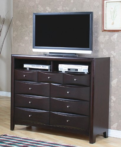 Image of TV Dresser Stand Contemporary Style in Cappuccino Finish (VF_200418)