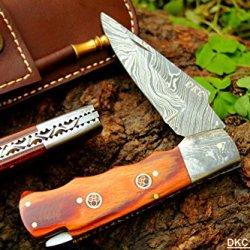 "Dkc-35 Stallion Damascus 4.5' Folded 8"" Open 6.8 Oz Pocket Folding Knife Dkc Knives Tm Hand Made Incredible Look And Feel"