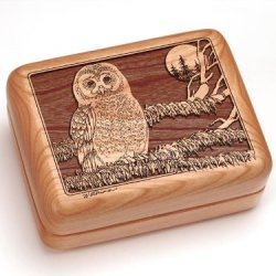 """3X4"""" Box With Money Clip/Pocket Knife - Spotted Owl"""