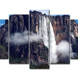 5 Piece Wall Art Painting Angel Falls Cliff Trees Grass Prints On Canvas The Picture Landscape Pictures Oil For Home Modern Decoration Print Decor For Bedroom