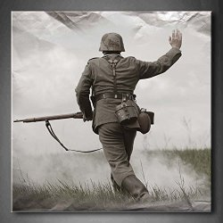 Black And White German Soldier In World War Ii Wall Art Painting Pictures Print On Canvas People The Picture For Home Modern Decoration (Stretched By Wooden Frame,Ready To Hang)