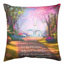 Manual Climaweave Indoor/Outdoor Throw Pillow, Thomas Kinkade Fountain Of Blessings, 20 X 20-Inch