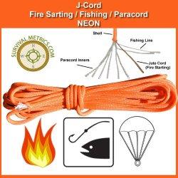 J-Cord - Orange: Fire, Fishing, Paracord Combination Survival & Emergency Cord